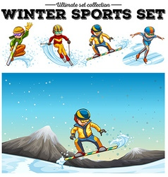 People playing winter sports vector image