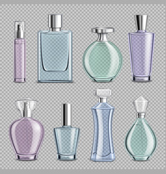 perfume glass bottles set vector image