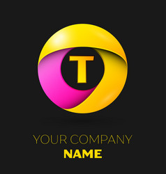 realistic letter t logo in colorful circle vector image