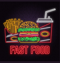 Retro neon burger cola and french fries sign on vector