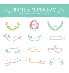 Ribbons Vintage Set - Isolated On White Background vector