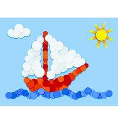 Sailboat in color circles vector image