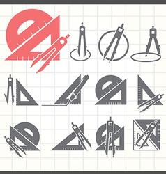 School drawing tools icons set vector