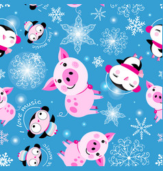 seamless christmas pattern piglets and penguins vector image