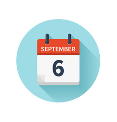 September 6 flat daily calendar icon date vector