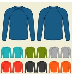 set colored long sleeve shirts templates vector image