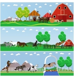 set horse riding taming horses and vector image
