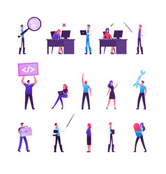 set male and female business characters working vector image