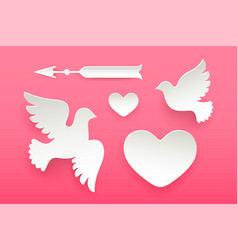 set of paper objects heart pigeon bird arrow vector image