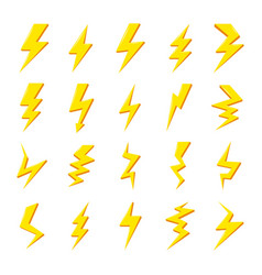 set yellow lightning bolt icons images vector image