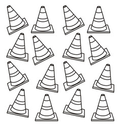 Silhouette pattern traffic cone set flat vector