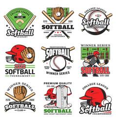 softball tournament sport game icons set vector image