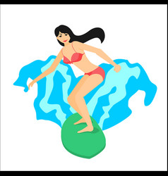 Surfer woman riding on surfboard vector