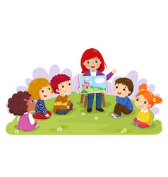 Teacher telling story to children in garden vector