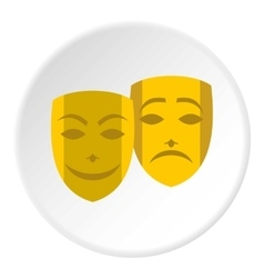 Theatrical masks icon flat style vector image