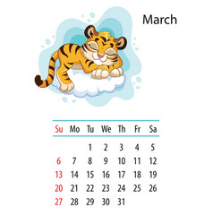 Tiger wall calendar design template for march 2022 vector