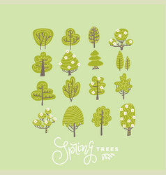 trendy flat trees and flowers set vector image