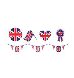 united kingdom symbols set flags vector image