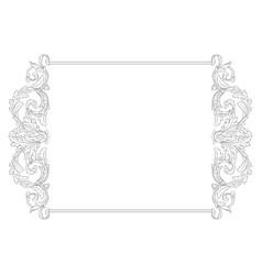 vintage baroque frame scroll ornament vector image vector image
