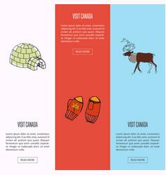 Visit canada touristic web banners set vector