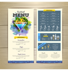 Watercolor cocktails menu design vector image
