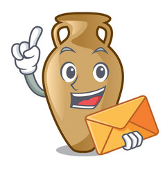 With envelope amphora character cartoon style vector