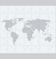 world map with puzzles vector image