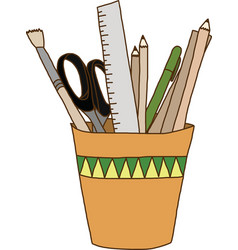 Writing and drawing Tools in glass vector image