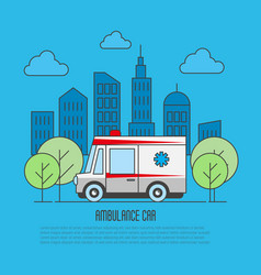 Ambulance car in thin line style megapolis vector
