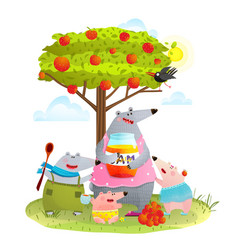 bear family mother with kids eating apple jam vector image vector image