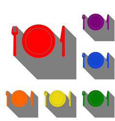 fork plate and knife set of red orange yellow vector image