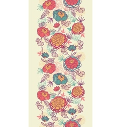 Peony flowers and leaves vertical seamless pattern vector image
