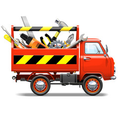 Red Truck with Toolbox vector image vector image