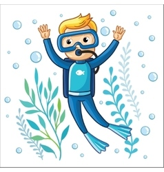 Young diver swims under water vector image vector image