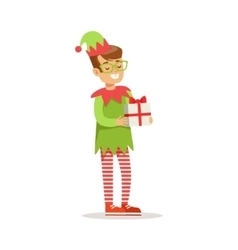 Boy in glasses with present dressed as santa claus vector