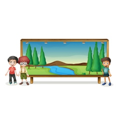 boys and board vector image vector image