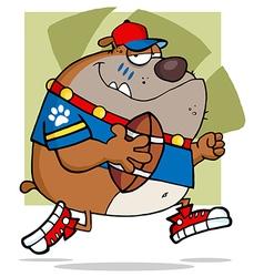 Brown Bull Dog Football Player Running vector image