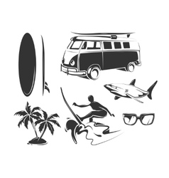elements for summer surfing vector image vector image