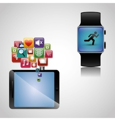 Hand hold smartphone smart watch wearable sharing vector