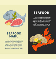 seafood restaurant menu design template for vector image vector image