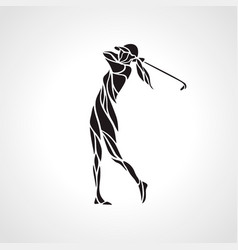 silhouette of woman golf player golfer logo vector image vector image