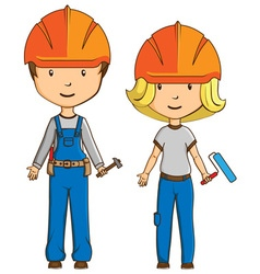 Two cartoon style workers vector image vector image