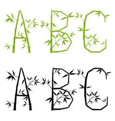 bamboo letters set vector mesh vector image vector image
