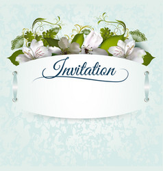 invitation template with flowers vector image vector image