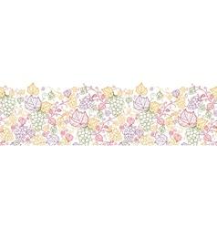 Line art grape vines horizontal seamless pattern vector image