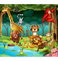Animals and forest vector image vector image