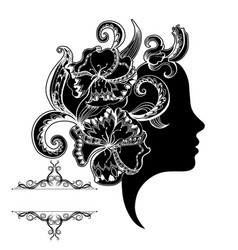 beautiful girl face with ornate and frame vector image