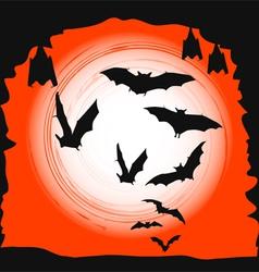 Halloween background - flying bats in full moon vector image