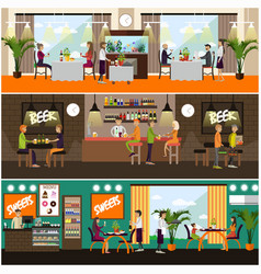 set of pub and restaurant concept posters vector image vector image