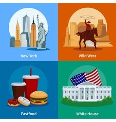 USA Flat 2x2 Icons Set vector image vector image